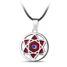 ORNAPEADIA Anime products Naruto Uchiha Sasuke Kaleidoscope pendant leather rope necklace fine accessories wholesales(China)