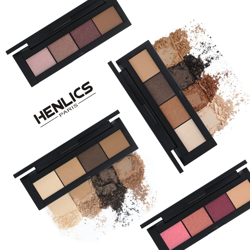 France HENLICS Brand 4 Colors Eyeshadow Palette Glamorous Smokey Eye Shadow Shimmer Colors Makeup Eyeshadow Palette (13)