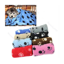 Hot Sale Lovely Design Pet Dog Cat Paw Prints Fleece Couture Blanket Mat New(China)