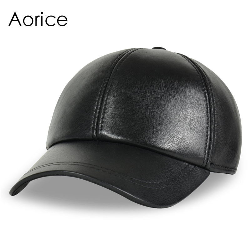 Deluxe Leather Adjustable Black Baseball Cap - Front Angle