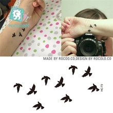 Rocooart HC1073 Women Sexy Finger Wrist Flash Fake Tattoo Stickers Liberty Small Birds Fly Waterproof Temporary Tattoos Sticker(China)