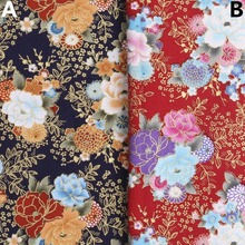 140CM*50CM blcak red flower Japanese Kimono cotton fabric dressmaking fabric tissue crafts dress sewing material diy tissue(China)