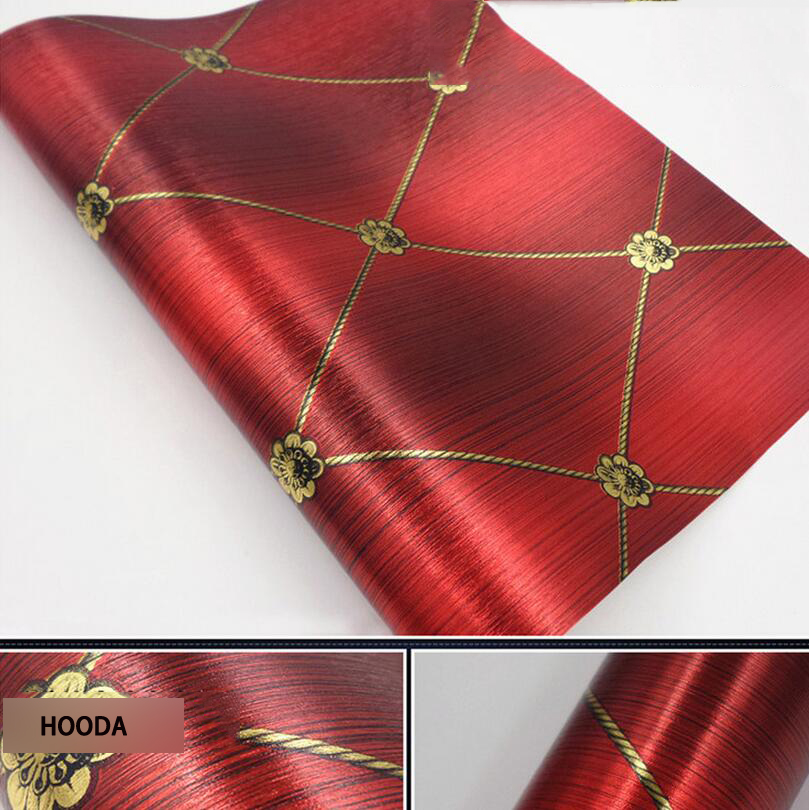 Wallpaper reflective gold foil wallpaper red  party and wedding room wall covering<br>