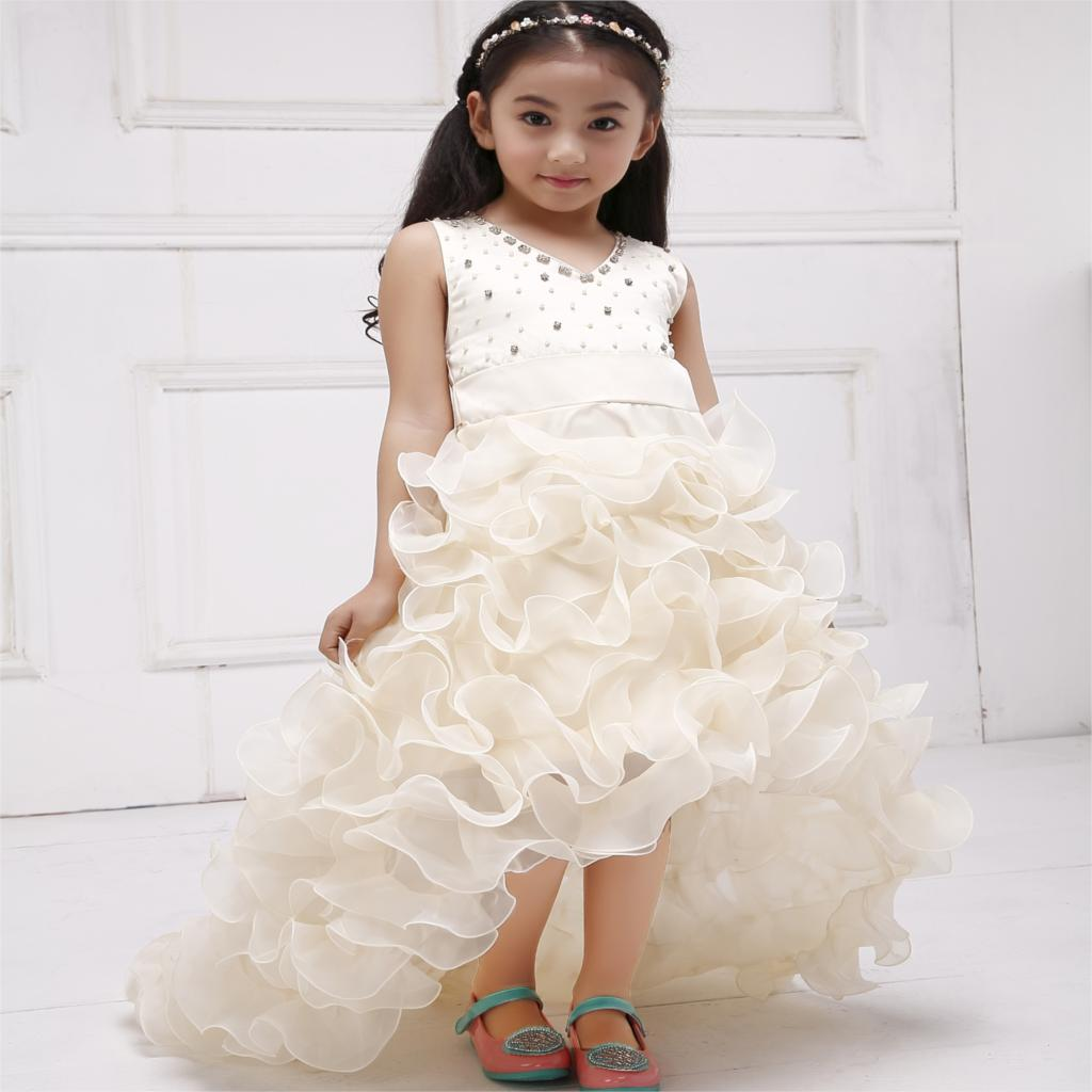 Girls Champagne Short Front Long Back Flower Girl Dress For Wedding Trailing Formal Party Vestidos Girls Clothes 2017 SKF154024<br>