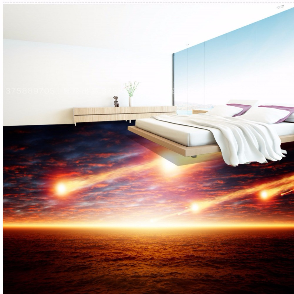 Free Shipping meteorite falling 3D floor tile wallpaper mural decorating living room bedroom bathroom floor sticker<br><br>Aliexpress