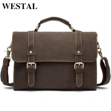 WESTAL Men Bags Crazy Horse Leather Casual Briefcase Portfolio Genuine Leather Man Business Bag Messenger Shoulder  Laptop Bag