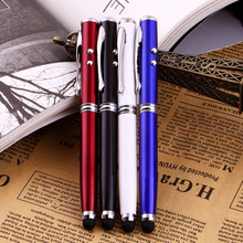 Compatible 4 in 1 LED Laser Pointer Torch Touch Screen Stylus Ballpoint Pen for iPhone for Ipad for Samsung 4 Colors Optional(China)