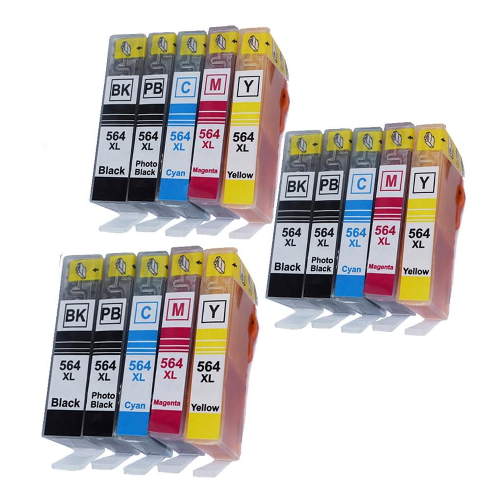 Compatible 15PK ink cartridge for HP 564 / 564XL for Photosmart 5510 5520 6510 6520 7510 Deskjet 3070A 3520 3522 printer of inks<br>