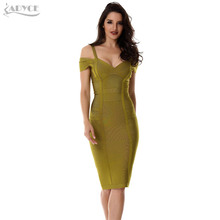 2018 Spring Dress Women Party Bandage Dress Olive Green Off the Shoulder Knee-Length Stunning Celebrity Prom Sexy Bodycon Dress(China)