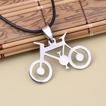 New Fashion Women Men Cycling Jewelry Silver Bike Bicycle Pendants Necklaces 316L Stainless Steel Leather Chain Men's Necklaces