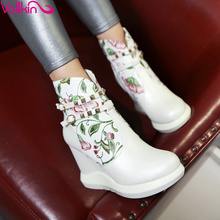 VALLKIN 2018 Fashion Printing Leather Autumn Women Shoes Elegant Ladies  High Heel Ankle Boots Women Fashion Boots Size 34-42