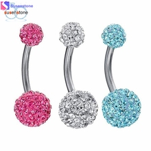 SUSENSTONE 3PCS Bling Disco Ball Multi Crystal Belly Button Navel Ring(China)