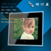 12 inch acrylic LED digital photo frame advertising machine mp3/mp4 play usb/card clock calendar display multi-language settings(China)