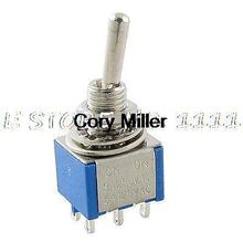 AC 5A/125V 3A/250V 6 Pin DPDT On-On Latching Miniature Toggle Switch Blue