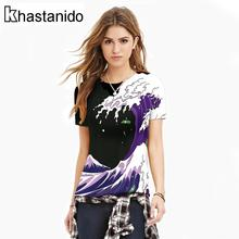 Khastanido 2017 New Women Summer Top Tees Ocean Wave 3d Print T-Shirt Short Sleeve O-Neck Pullover Jumper Shirt Couple Clothes(China)