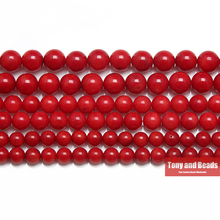 "Free Shipping Natural Red Coral Round Beads 15"" Strand 6 8 9MM Pick Size For Jewelry Making No.AB31"