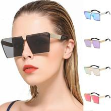 New Fashion Street Shooting Square Lens Color Film Mirrored Glasses Retro Cool Full Glare Barrier Oversize Multi-color Sunglass(China)