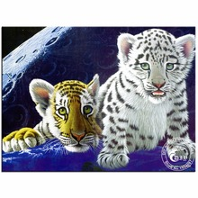 Diy 5D Diamond Painting Earthly Babies Tiger Cubs Cross Stitch Crystal Square Diamond Sets Unfinished Full Diamond Embroidery(China)