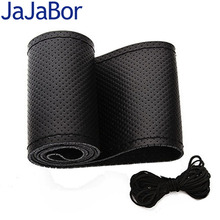 JaJaBor 38cm Genuine Leather Car Steering Wheel Cover Soft Anti-slip Cowhide Black/Gray Braid With Needle and Thread Car-Styling