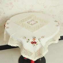 New Linen Table Cloth Lace Flowers Embroiderded Table Cover Square Round Rustic Tablecloth For Wedding Decorative Home big Size(China)