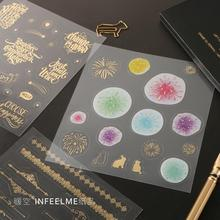 Gilding Fashion Diary Feather Diamond Firework Bulding Planet Sticker Diary Sticker Scrapbook Decoration PVC Stationery Stickers(China)