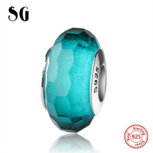 SG silver 925 classic dark green Murano glass beads antique charms fit authentic European bracelet jewelry making women gifts(China)