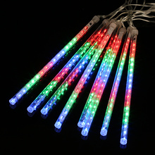 Finether 13.1 ft 8 Tube 144 LED Meteor Shower Rain Snowfall Plug String Lights for Holiday Christmas Halloween Party Decoration