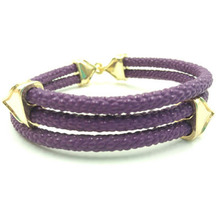 2015 Aliexpress Hot Sell Fashion Jewelry With Mens-Made Stingray Skin Purple Leather Silver Plating Bracelet For Women ZS003