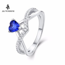 JO WISDOM Birthstone Sapphire Trendy 100% 925 Sterling Silver Women Wedding Ring with Natural Topaz Stone(China)