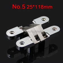 1PCS 25x118mm Invisible Concealed Cross Door Hinge Stainless Steel Hidden Hinges Bearing 40KG With Screw For Folding Door K99-2(China)