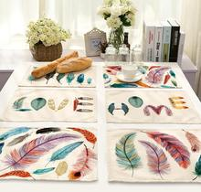 4Pcs/lot Printed Linen Placemat Place mat Table Mat cute creative feather polyester Dinner Coaster Dec wholesale FG685