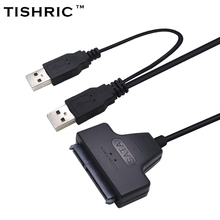 TISHRIC 2017 New Arrival Usb 2.0 To 7 15 22pin Sata Adapter Cables External Power For 2.5'' Ssd Hdd Hard Disk Drive Converter
