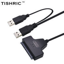 TISHRIC 2017 New Arrival Usb 2.0 To 7 15 22pin Sata Adapter Cables External Power For 2.5'' Ssd Hdd Hard Disk Drive Converter(China)