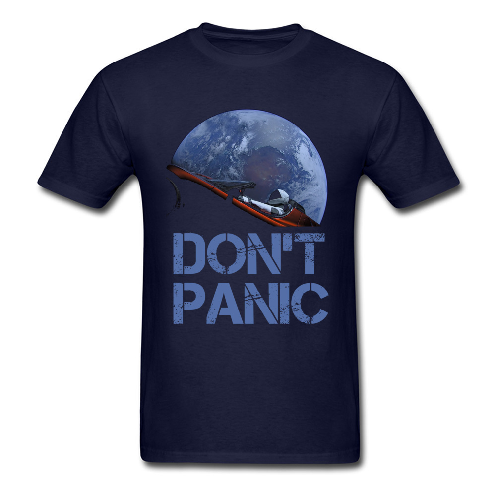 Dont Panic Starman O-Neck T Shirts Summer Tops Tees Short Sleeve New Coming All Cotton Gift Tops T Shirt Europe Men Dont Panic Starman navy
