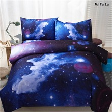 YMQY Brand 3D Nebala Outer Space Star Galaxy Bedding Set Duvet Cover Flat Bed Sheet Plaid Pillowcase Queen Twin Size Bed Set