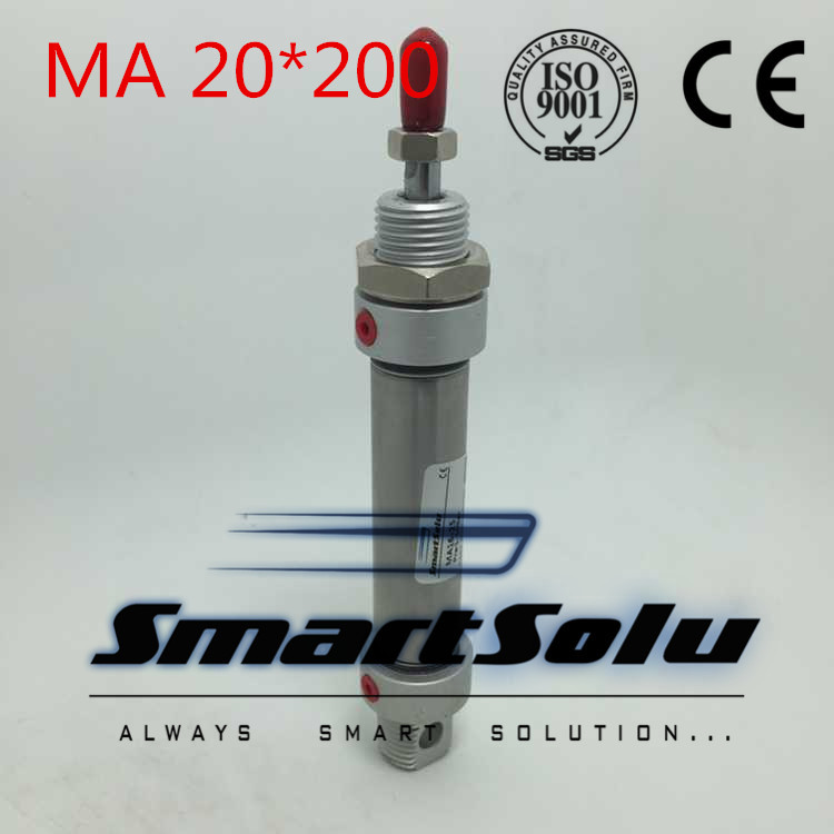 Free Shipping MA 20x200  20mm Bore 200mm Stroke Double Action Stainless Steel mini Air Cylinder<br>