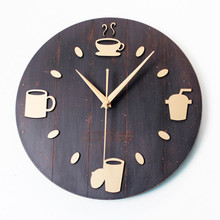 High Quality  watches clock watch Wood wall clocks Coffee Bar Restaurant Decoration Living Room decor Needle free shipping