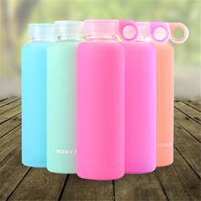 450ML Summer Style Jelly Color Portable Glass Drinking Bottle With Silicone Cover Fashion Glass Bottle With Cover Sport Bottle(China)