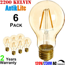 E26/E27 Lamp Based Standard Pear Shape A60 Amber Glass Tungsten Filament Incandescent Style 4W Dimmable LED Antique Light Bulb(China)