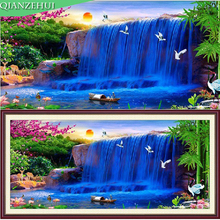 QIANZEHUI,Needlework DIY printing Blue waterfall Cross stitch,Running water Silk and cotton thread stitch For Embroidery kit