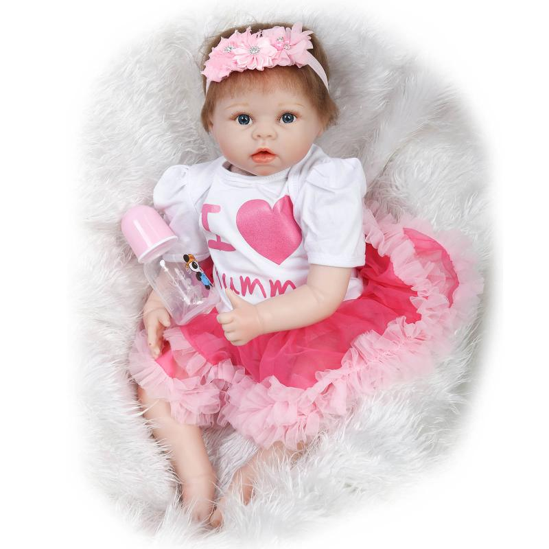 22 inch 55cm  baby reborn Silicone dolls, lifelike doll reborn babies for  Childrens toys Pink princess dress beautiful baby<br><br>Aliexpress