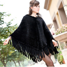 Knitted Genuine real natural Mink Fur Shawl Wrap Cape women fashion knit fur coat Wholesale retail Free shipping