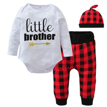 Fashion Baby Boy Clothes Newborn Letters Printed Tops Bodysuit+Red Plaid Pants+Hat Infant Baby Boys Clothing Set Little Brother