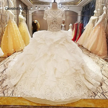 Buy LS69234 trajes de novias 2017 nuevos ball gown transparent zipper back short sleeves lace wedding dresses real photos for $339.65 in AliExpress store