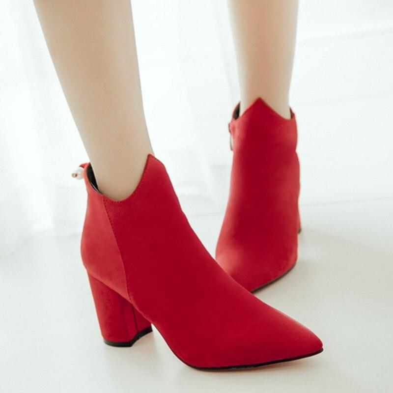Top Pointed Toe Talon Bottier Red Bride Shoes Women Ankle Boots Suede Autumn Shoes Pour Femme Western Bottines Chelsea Lady BOOT<br><br>Aliexpress