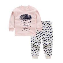 2017 winter new baby girls boys clothes set 2pcs cotton Toddler girls boys Cartoon pajamas Unisex underwear Baby Clothing Set(China)