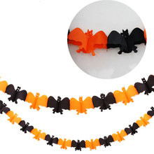 2017 New Product Halloween Party Orange Black Bat Pull Flowers Banners Decoration Sticker Ribbons Props Outdoor Paper #2003