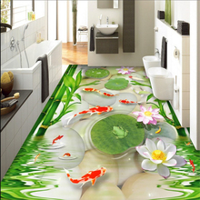 beibehang  High-definition beautiful goldfish pebbles bamboo lotus leaf frog 3d flooring papel de parede indoor wallpaper tapety