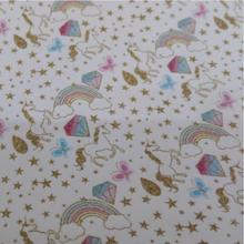 3PC A4 SIZEPrinted Unicorn Leather Faux Pu Leather For Sewing DIY Accessories PL007(China)