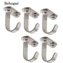 Behogar 5Pcs Stainless Steel Ceiling Hanging Closet Cabinet Top Hook Towel Robe Cloth Holders For Bathroom Kitchen Accessories(China)
